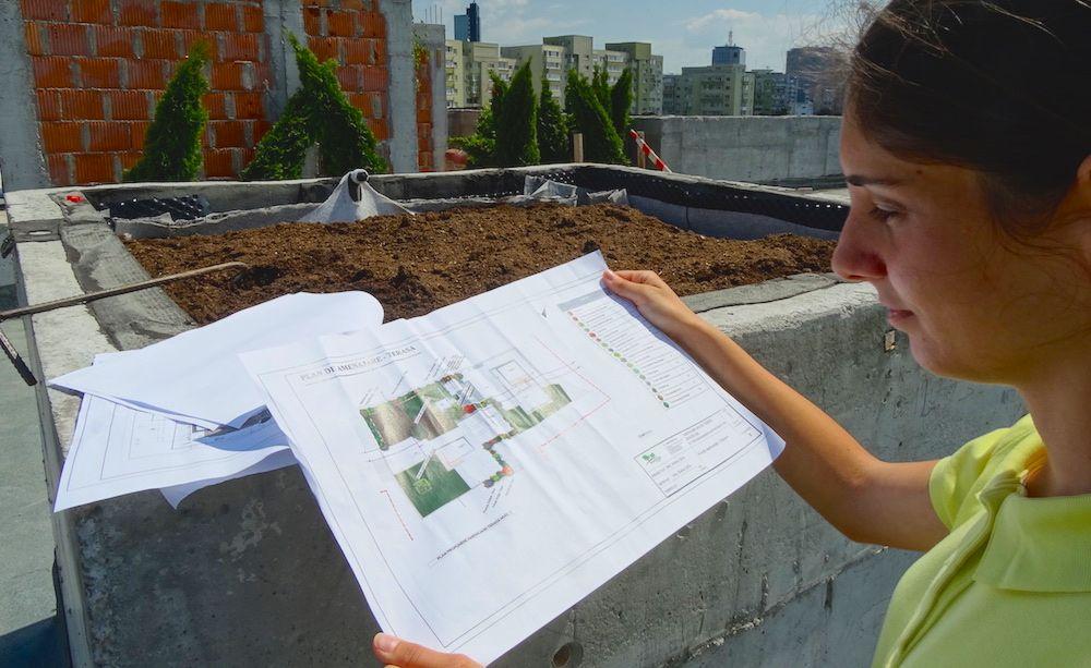 Arhitectul peisagist consulta planurile pe teren