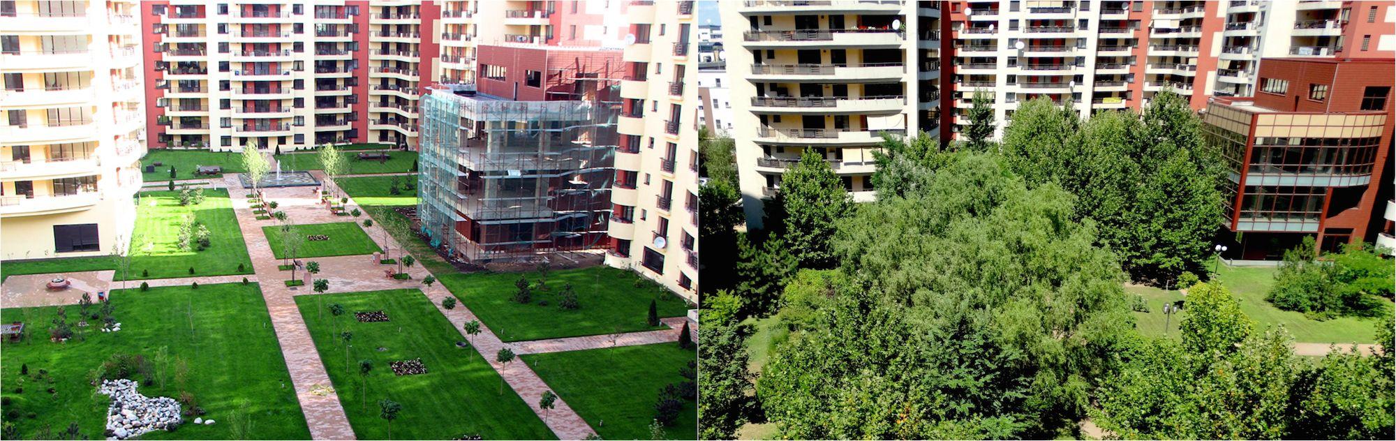 Amenajarea gradinii unui ansamblului rezidential Central Park din Bucuresti